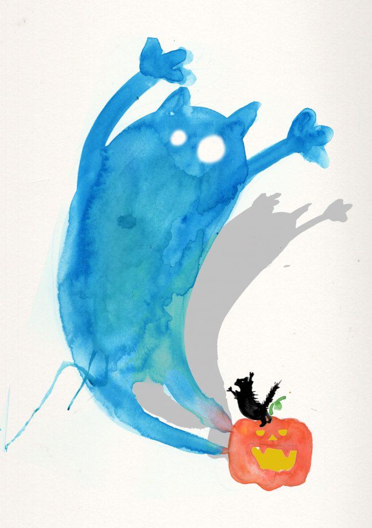 a black cat on top of a halloween pumpkin, casting a huge spooky shadow